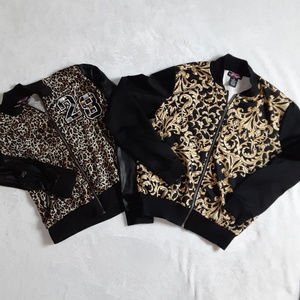 Lot of 2 Body Central Zip Up Printed Sweater Top M
